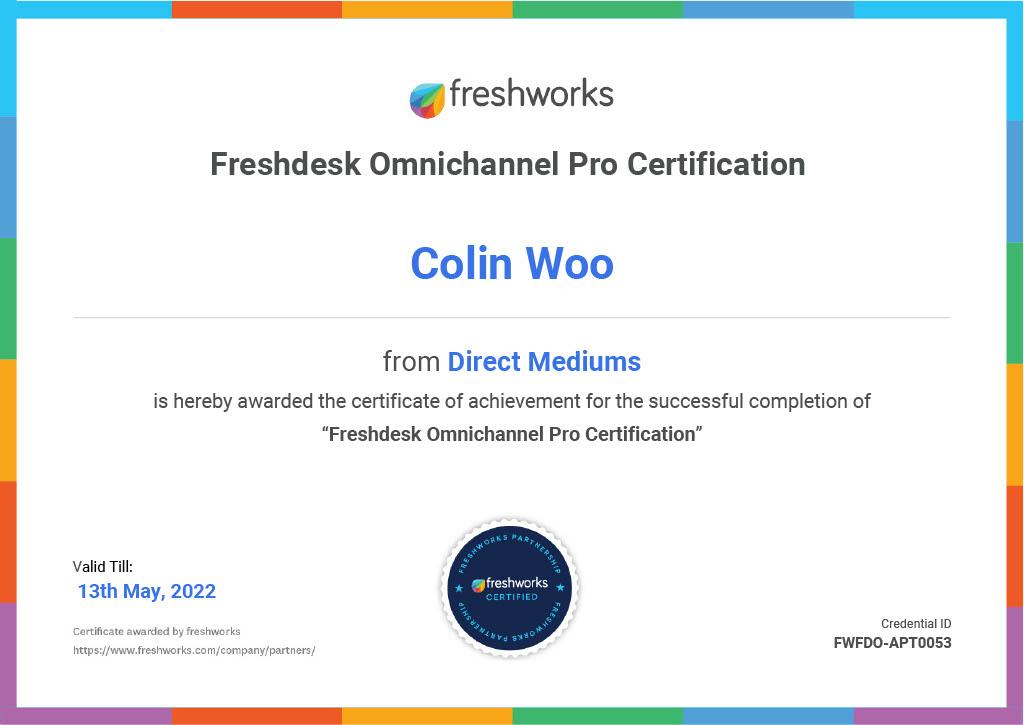 Colin Woo Freshdesk certificate1024_1