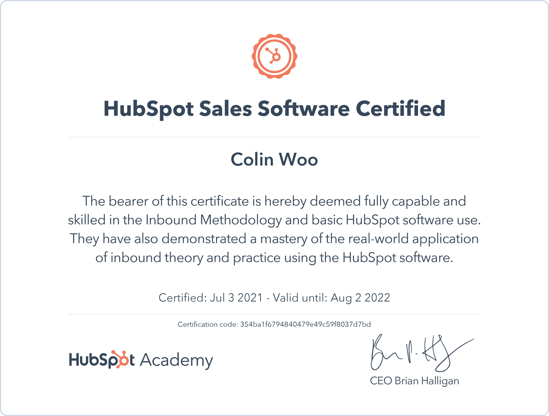 hubsport sales software cert 2022
